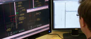 Worker looking at CADD software