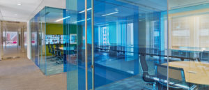 At Nixon Peabody beautiful blue glass doors