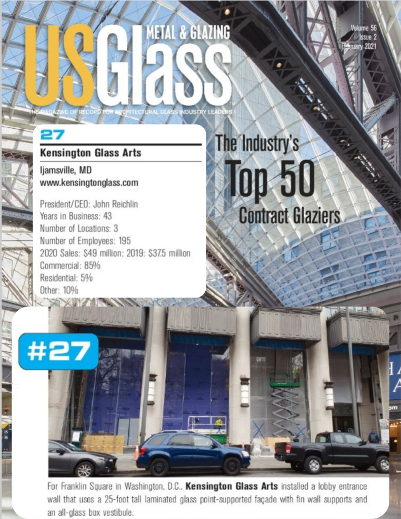 US Glass Magazine Top 50 Contract Glazier Kensington Glass Arts 2021