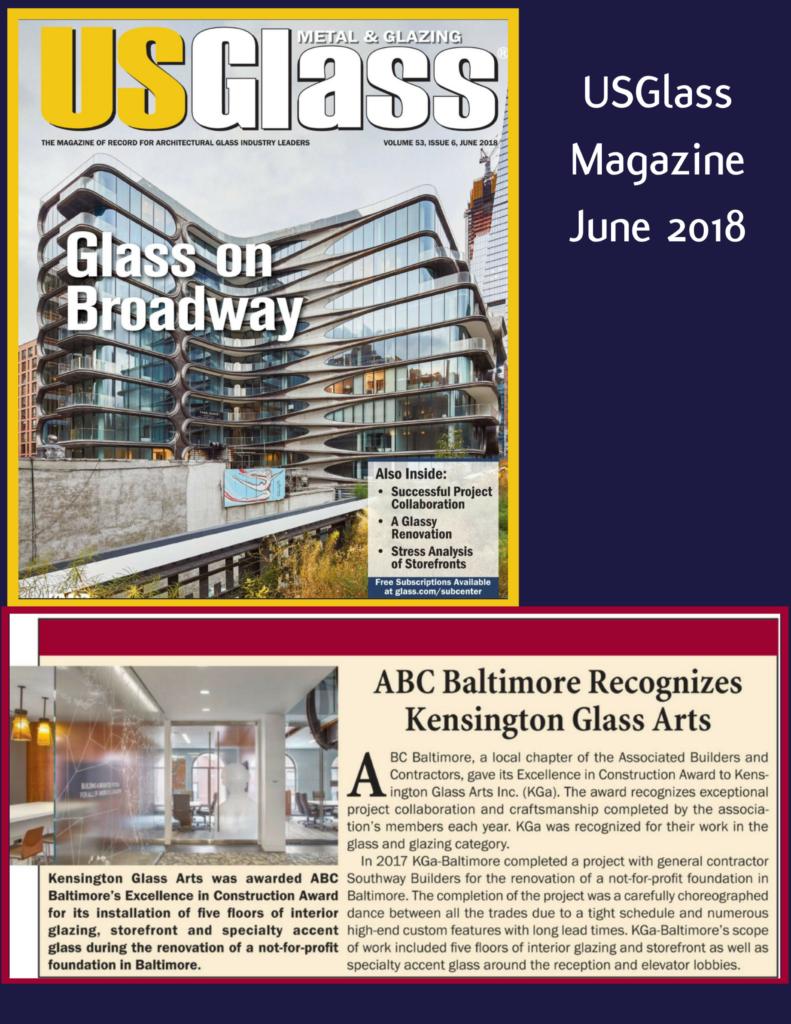 "USGlass Magazine June 2018 | KGa Wins ""Excellence in Construction"" Award"