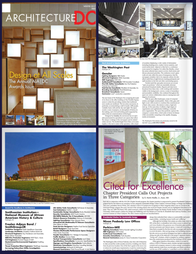Architecture DC Winter 2017 Awards Issue | KGa Projects [Nixon Peabody, NMAAHC & Washington Post] Featured