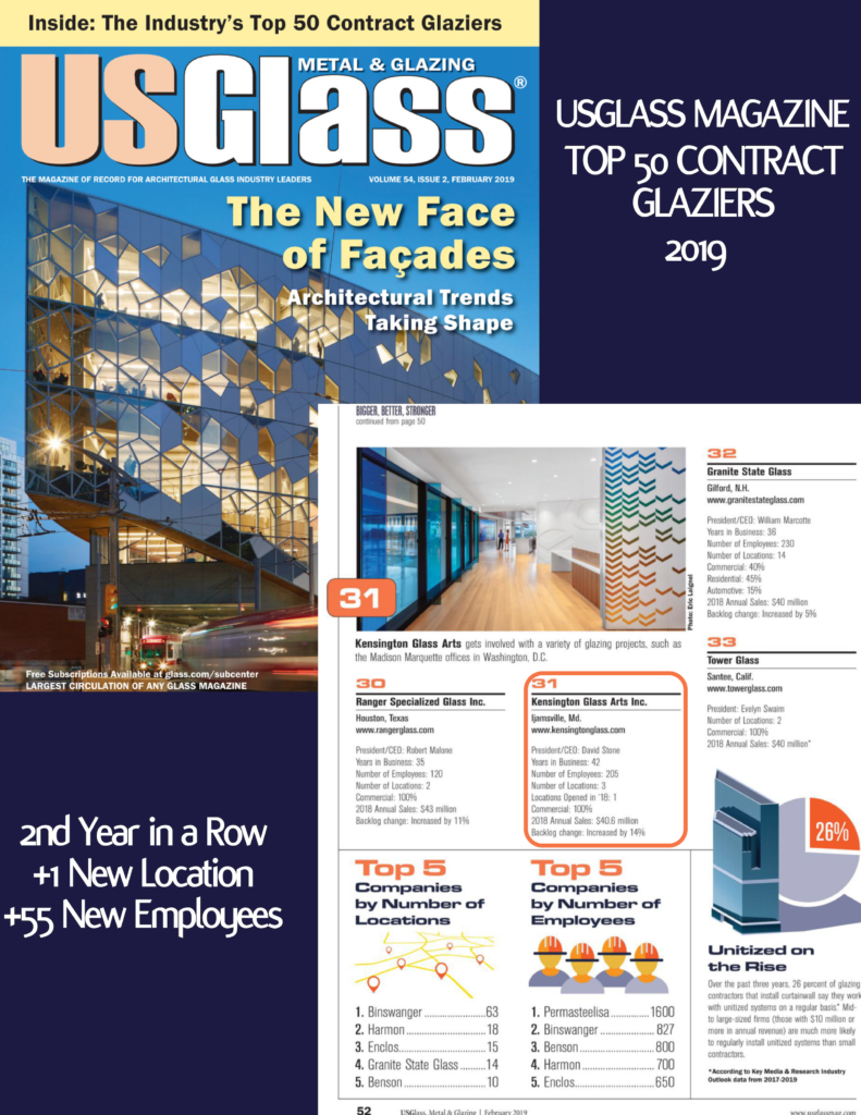 USGlass Magazine's 2019 Top 50 Contract Glaziers
