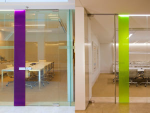 Image of glass walls in front of a meeting room at DLA Piper