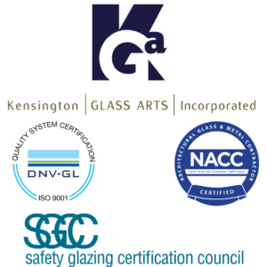 Kensington Glass Arts logo with common glass certifications we hold, ISO 9001, NACC, and SGCC